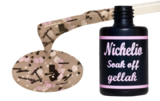 Nichelio soak off gellak - splatter pink-black-white