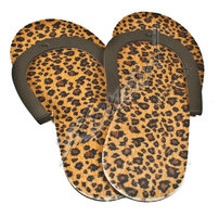 Pedicure teenslippers panterprint bruin