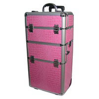 Professional Pink Croc Trolley Case 2 wheel Pink