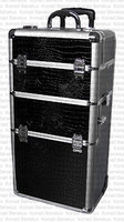 Professional Black Croc Trolley Case 2 wheel Black