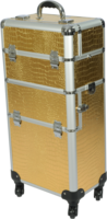 Professional gold Croc Trolley Case 4 wheels Gold